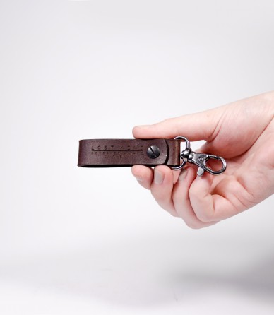 Chestnut Brown Leather Mini Key Chain (Silver)